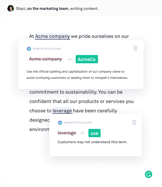 Example of how Grammarly can help alert your team when they are not using company, product, and trademark names correctly.