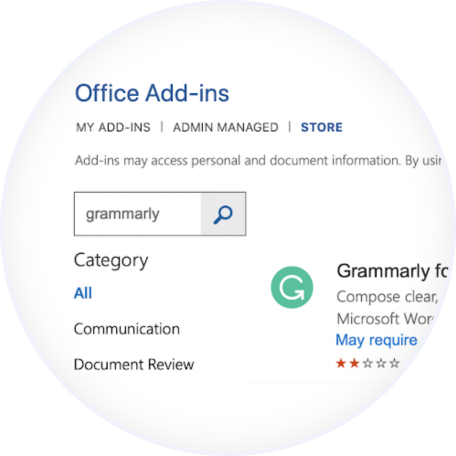 Search and Add Grammarly