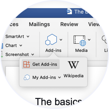 "Click ""Get Add-ins"""